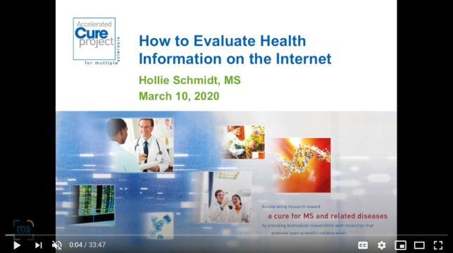 Evaluating online Health information
